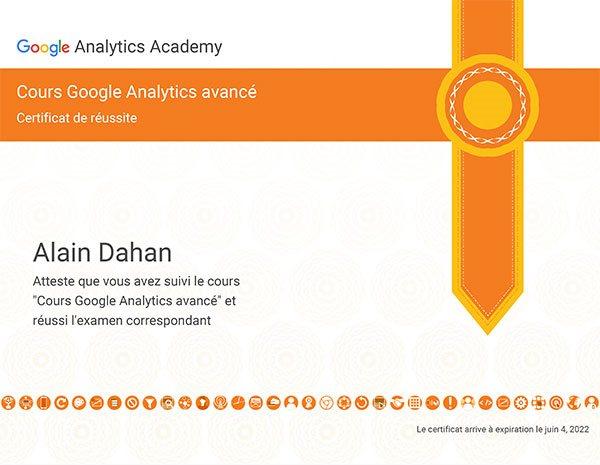 Certificat de réussite au cours Google Analytics avancé