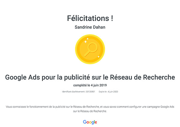Certification Google Ads pour la publicité sur le réseau de recherche